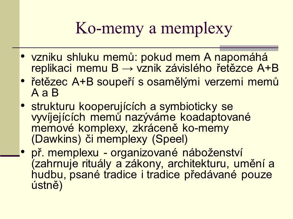 Ko-memy a memplexy vzniku shluku memů: pokud mem A napomáhá replikaci memu B → vznik závislého řetězce A+B.
