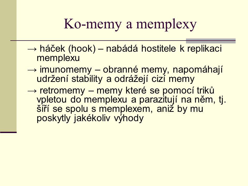 Ko-memy a memplexy → háček (hook) – nabádá hostitele k replikaci memplexu.
