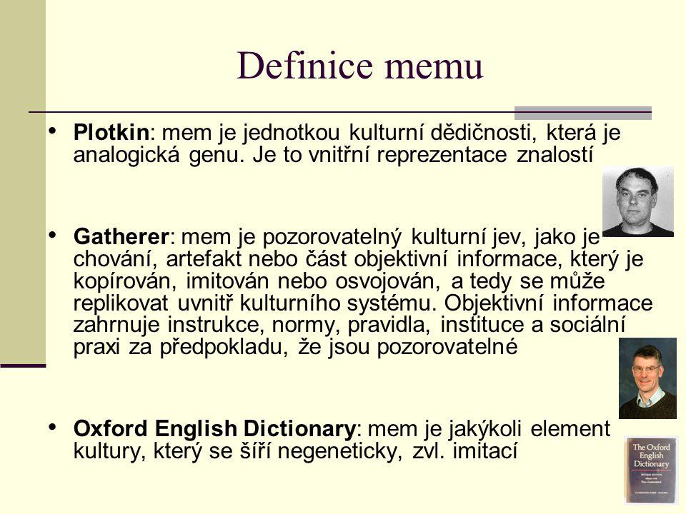 Definice memu Plotkin: mem je jednotkou kulturní dědičnosti, která je analogická genu. Je to vnitřní reprezentace znalostí.