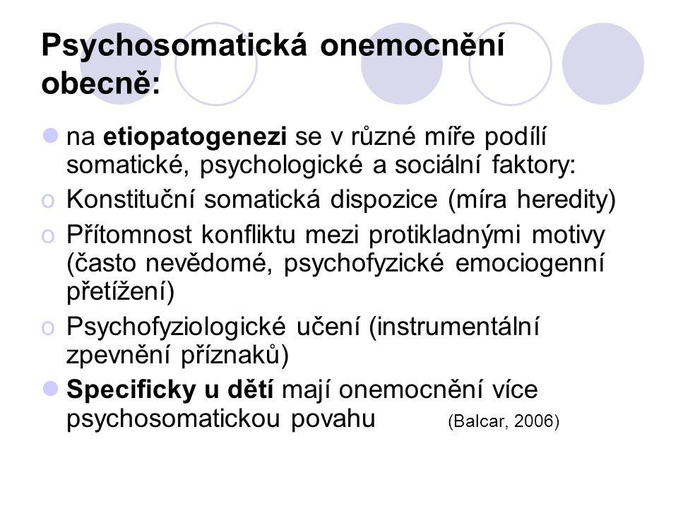Psychosomatická onemocnění obecně: