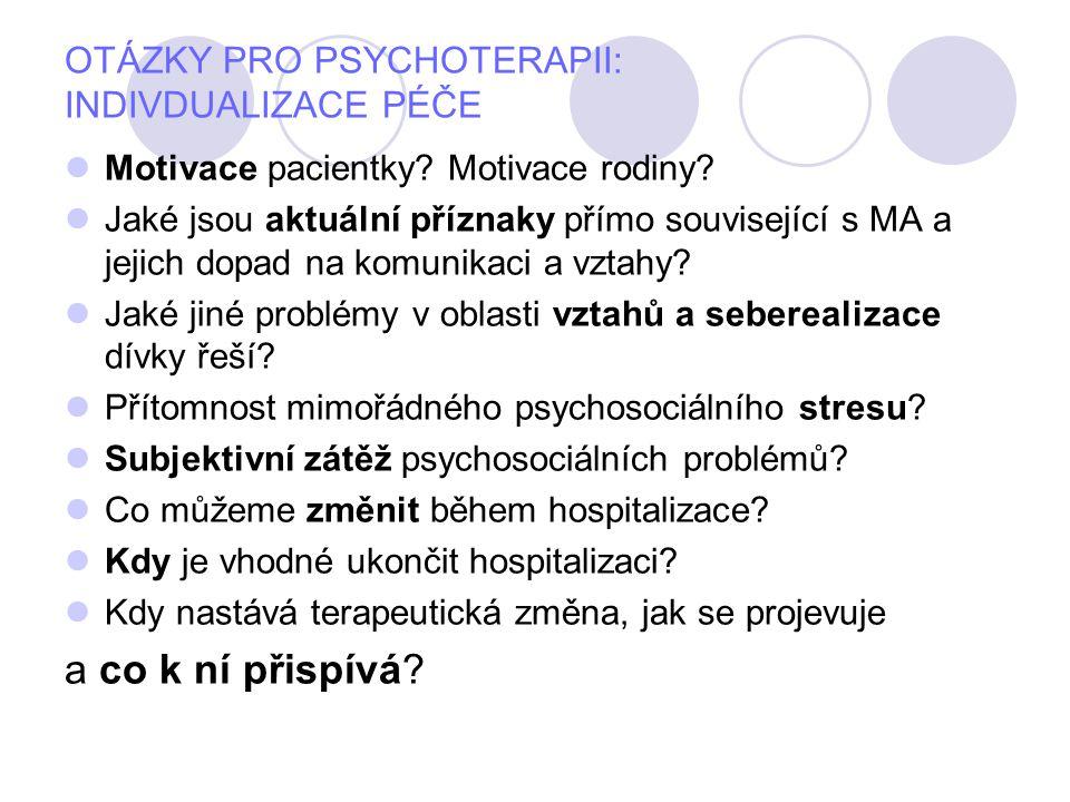 OTÁZKY PRO PSYCHOTERAPII: INDIVDUALIZACE PÉČE