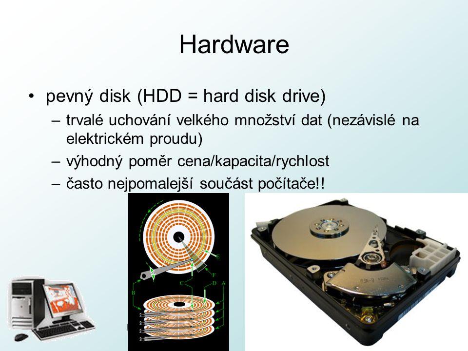 Hardware pevný disk (HDD = hard disk drive)