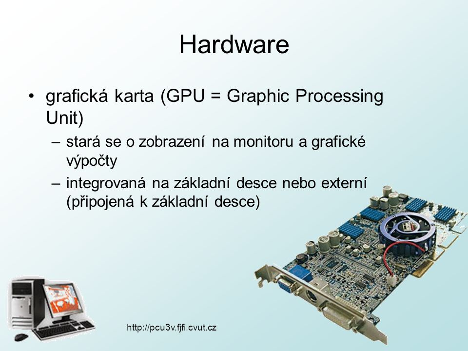 Hardware grafická karta (GPU = Graphic Processing Unit)