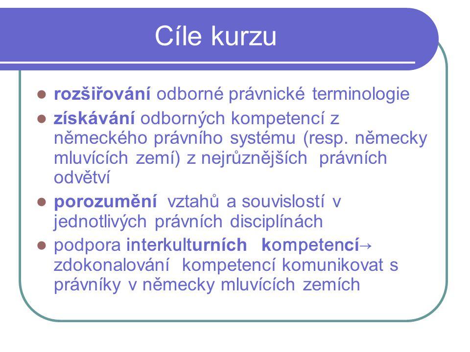 Cíle kurzu rozšiřování odborné právnické terminologie