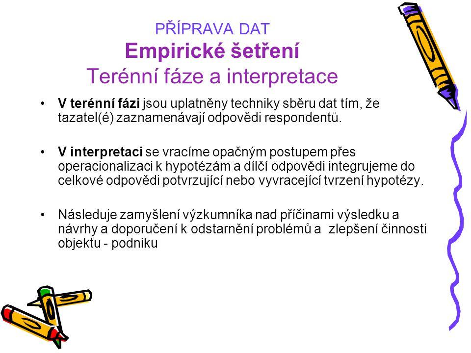 PŘÍPRAVA DAT Empirické šetření Terénní fáze a interpretace