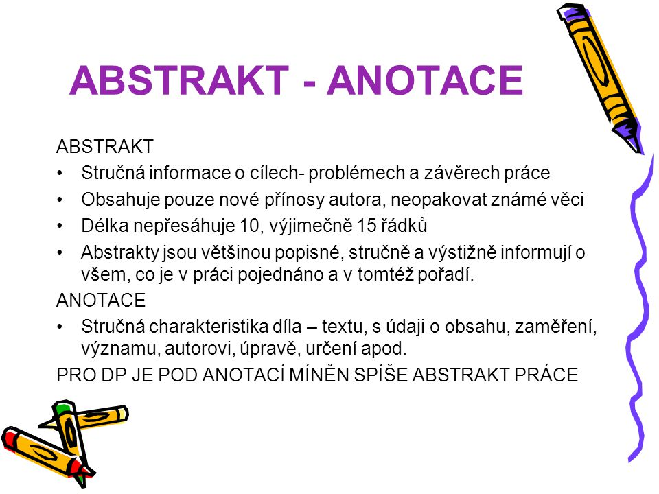 ABSTRAKT - ANOTACE ABSTRAKT