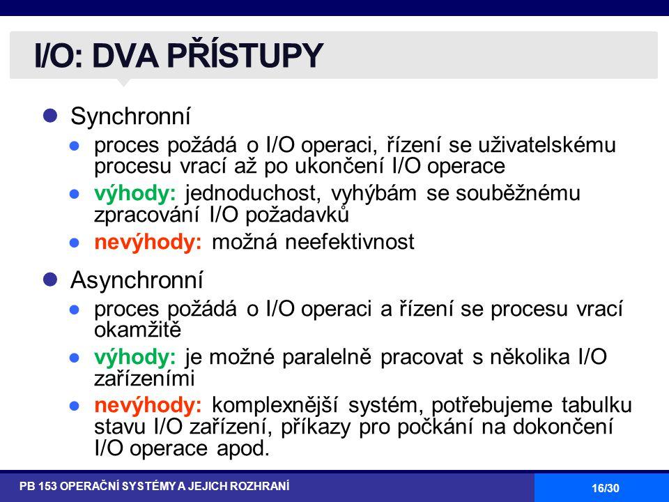 I/O: DVA PŘÍSTUPY Synchronní Asynchronní