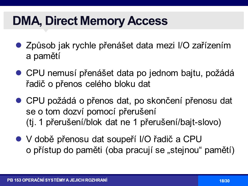 DMA, Direct Memory Access