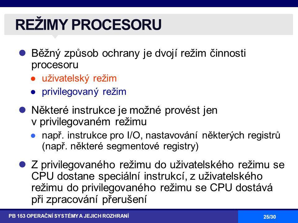 REŽIMY PROCESORU Běžný způsob ochrany je dvojí režim činnosti procesoru. uživatelský režim. privilegovaný režim.