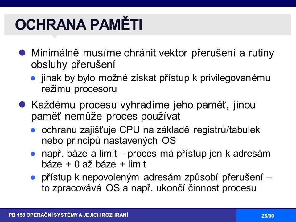 OCHRANA PAMĚTI Minimálně musíme chránit vektor přerušení a rutiny obsluhy přerušení.