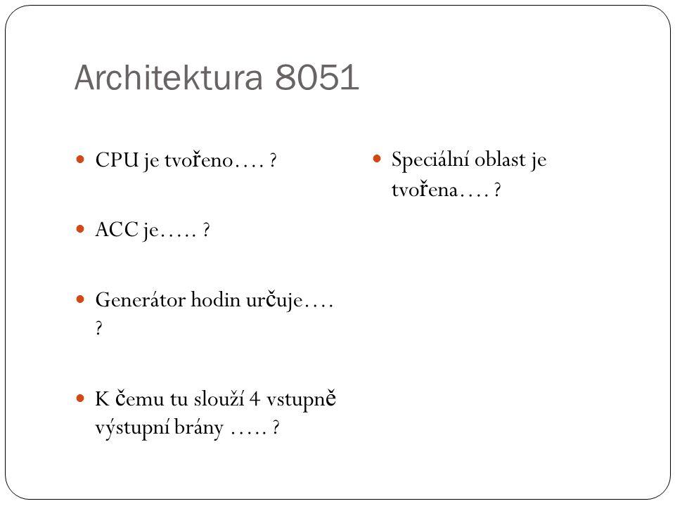 Architektura 8051 CPU je tvořeno…. ACC je…..