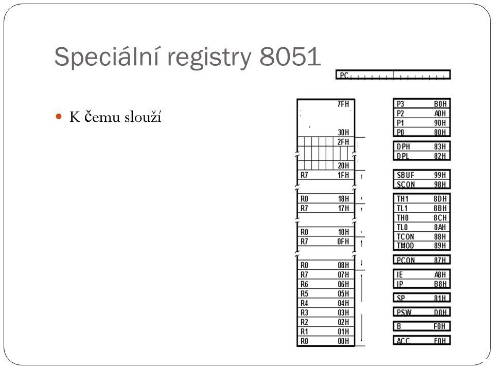 Speciální registry 8051 K čemu slouží