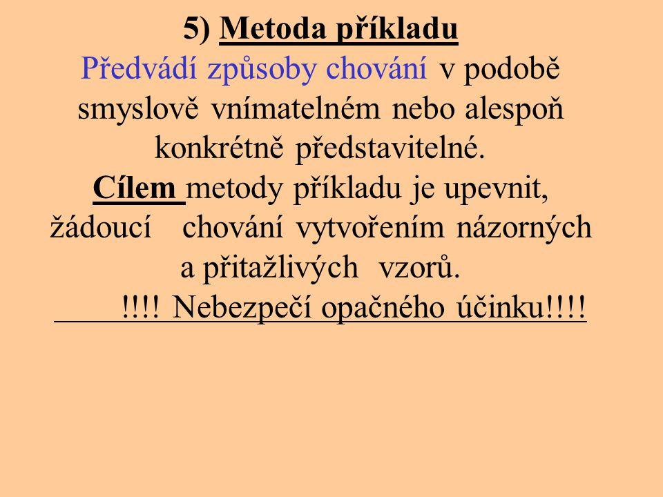 5) Metoda příkladu Předvádí způsoby chování v podobě smyslově vnímatelném nebo alespoň konkrétně představitelné.