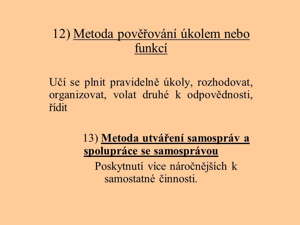 12) Metoda pověřování úkolem nebo funkcí