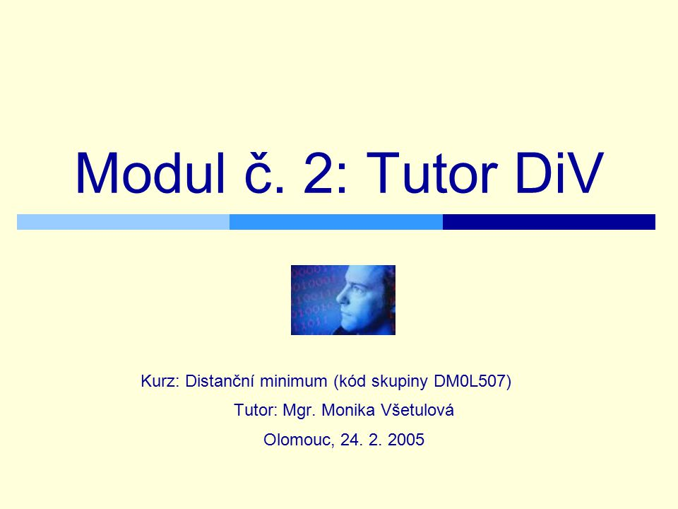 Modul č. 2: Tutor DiV Kurz: Distanční minimum (kód skupiny DM0L507)