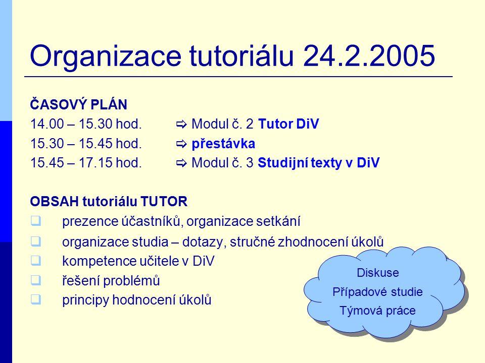 Organizace tutoriálu 24.2.2005 ČASOVÝ PLÁN