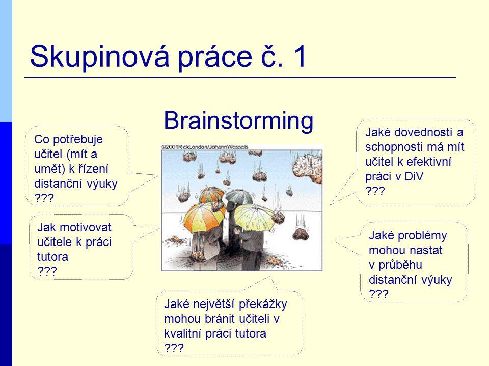 Skupinová práce č. 1 Brainstorming