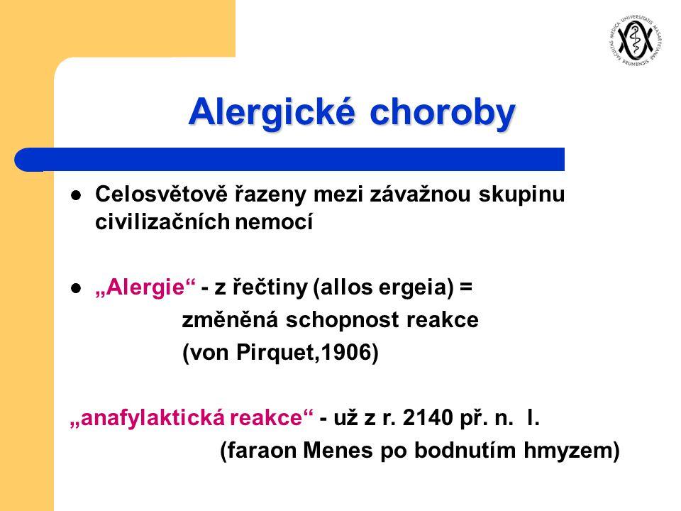 """Alergické choroby Celosvětově řazeny mezi závažnou skupinu civilizačních nemocí. """"Alergie - z řečtiny (allos ergeia) ="""