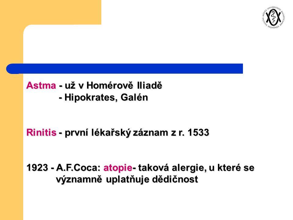 Astma - už v Homérově Iliadě - Hipokrates, Galén
