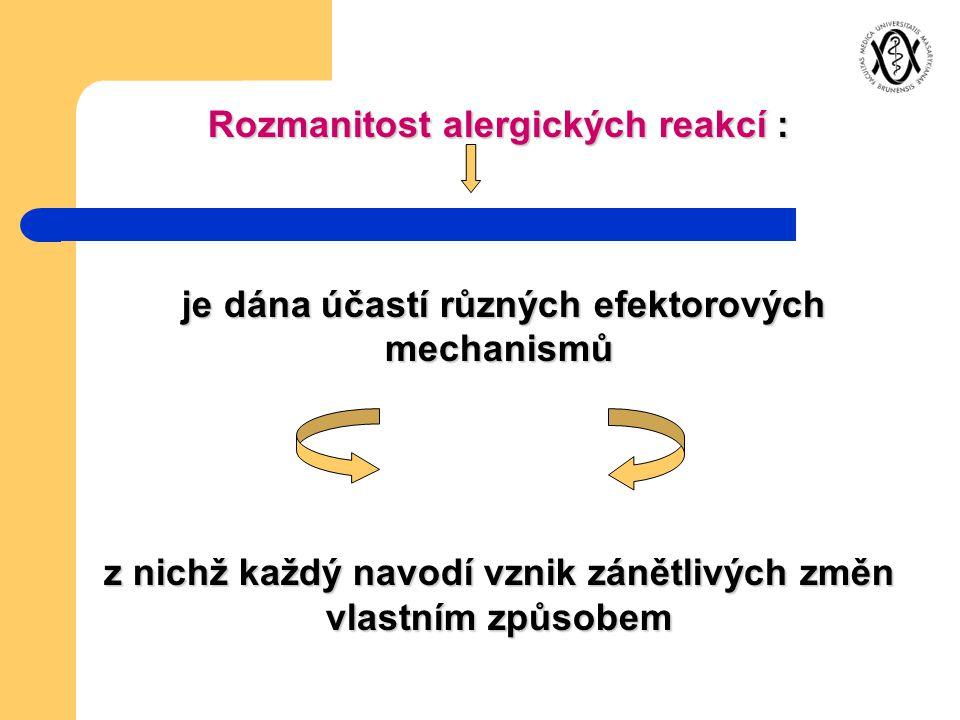 Rozmanitost alergických reakcí :