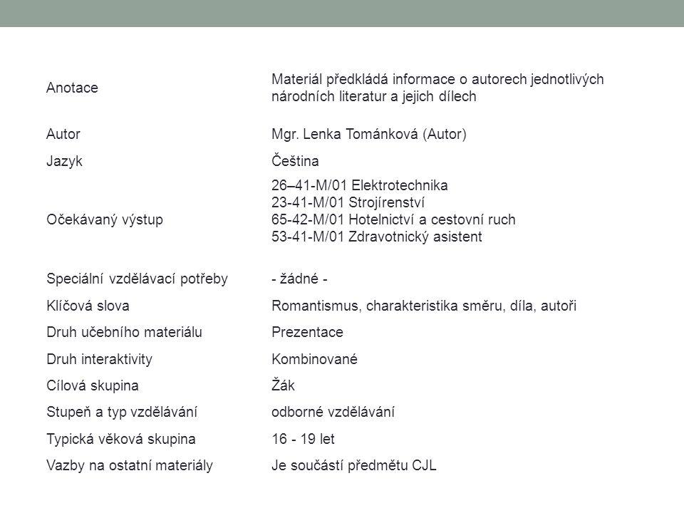 Anotace Materiál předkládá informace o autorech jednotlivých národních literatur a jejich dílech. Autor.