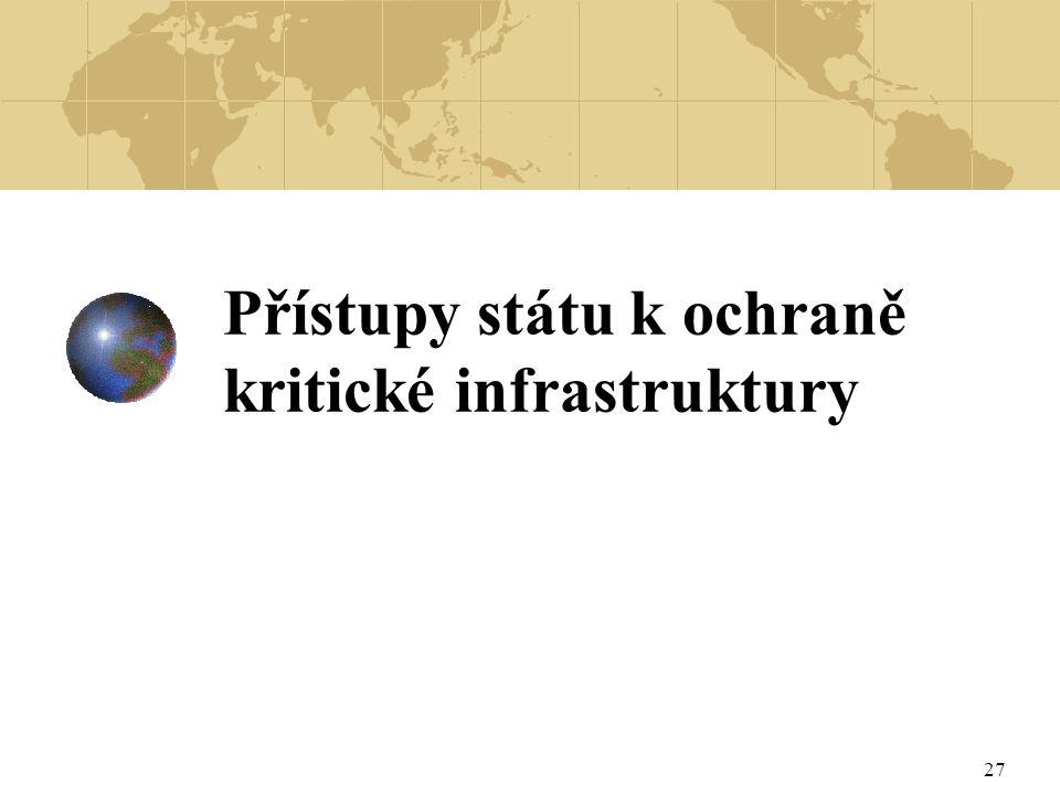 Přístupy státu k ochraně kritické infrastruktury