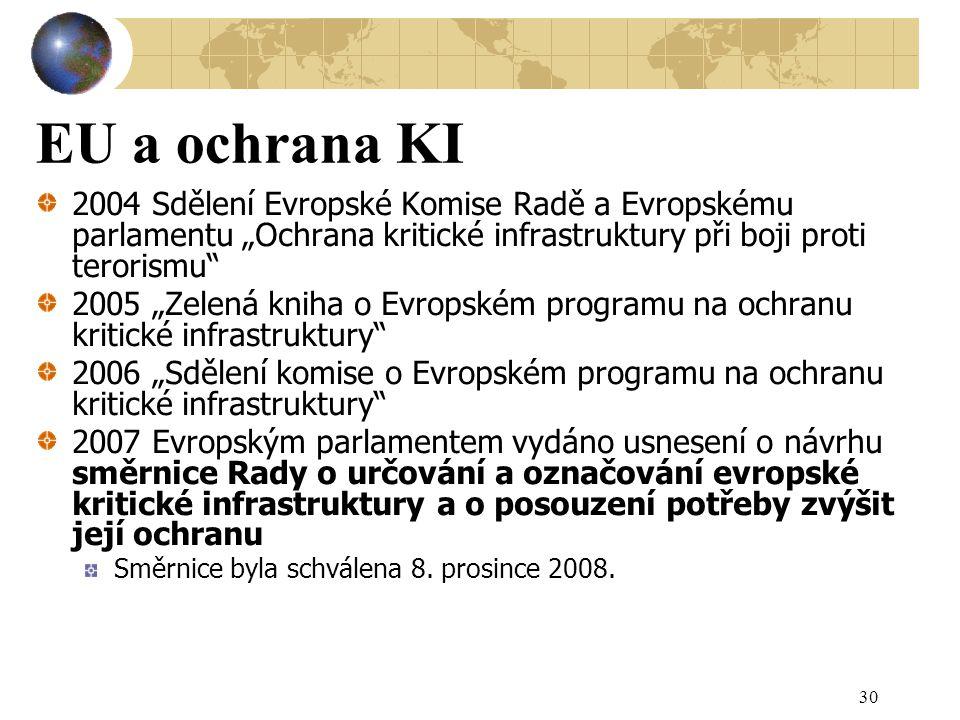 """EU a ochrana KI 2004 Sdělení Evropské Komise Radě a Evropskému parlamentu """"Ochrana kritické infrastruktury při boji proti terorismu"""