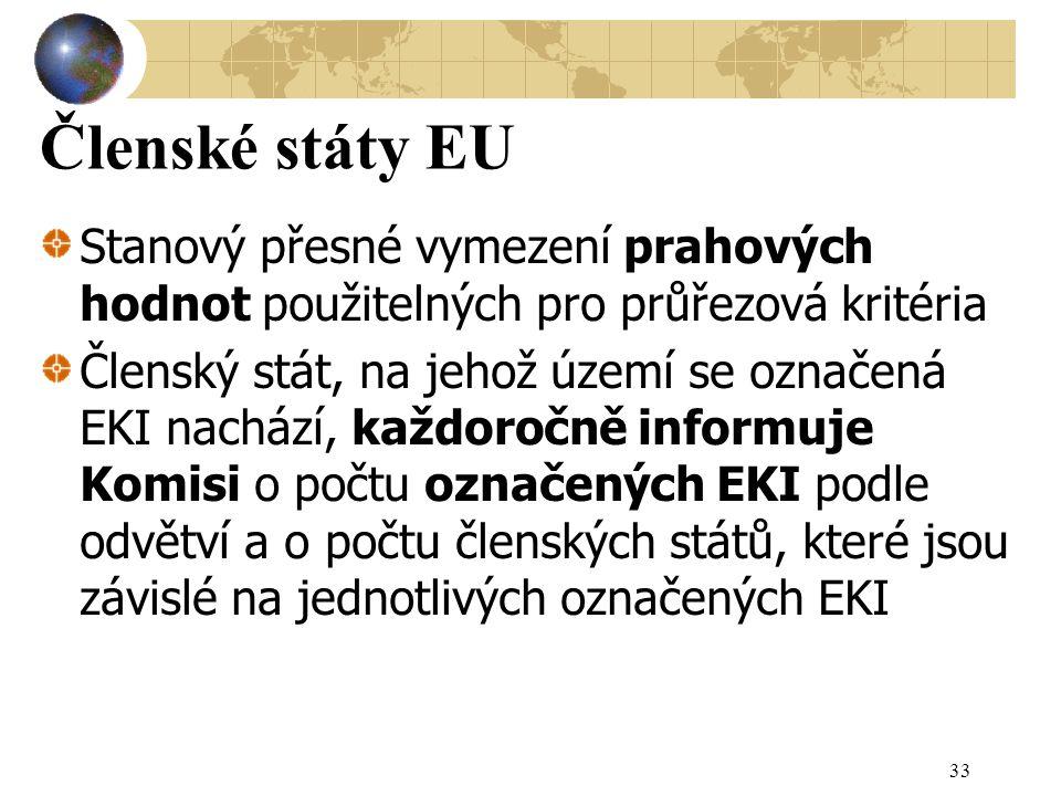 Členské státy EU Stanový přesné vymezení prahových hodnot použitelných pro průřezová kritéria.