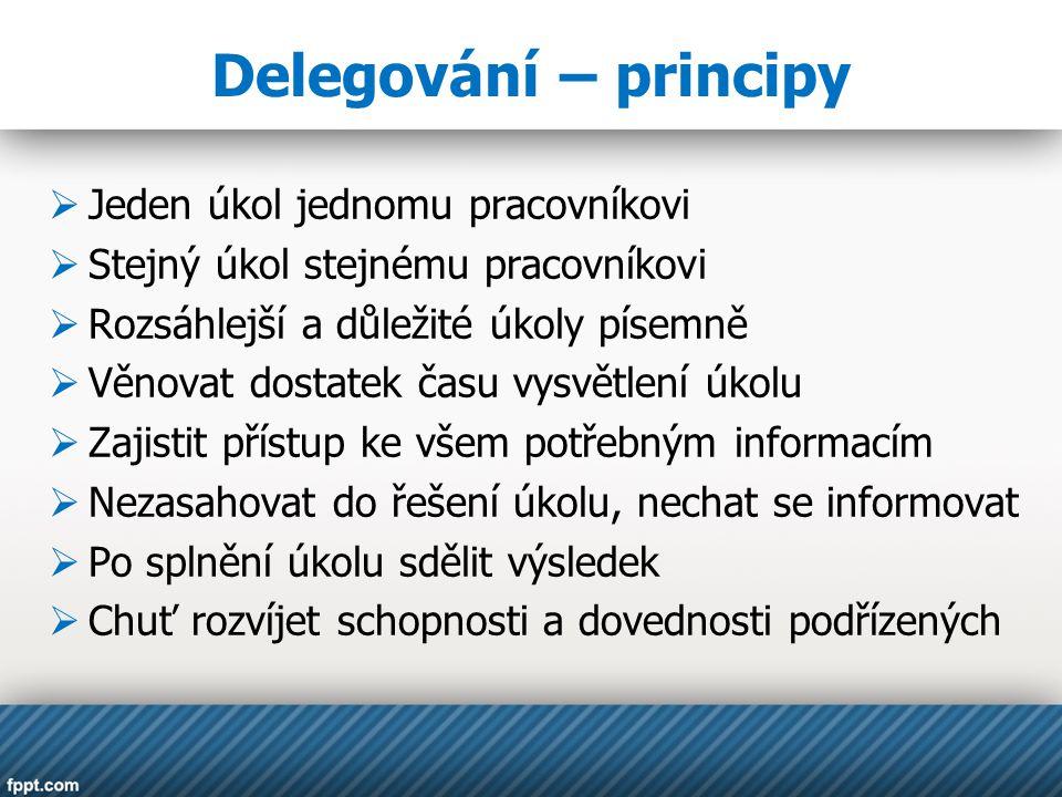 Delegování – principy Jeden úkol jednomu pracovníkovi