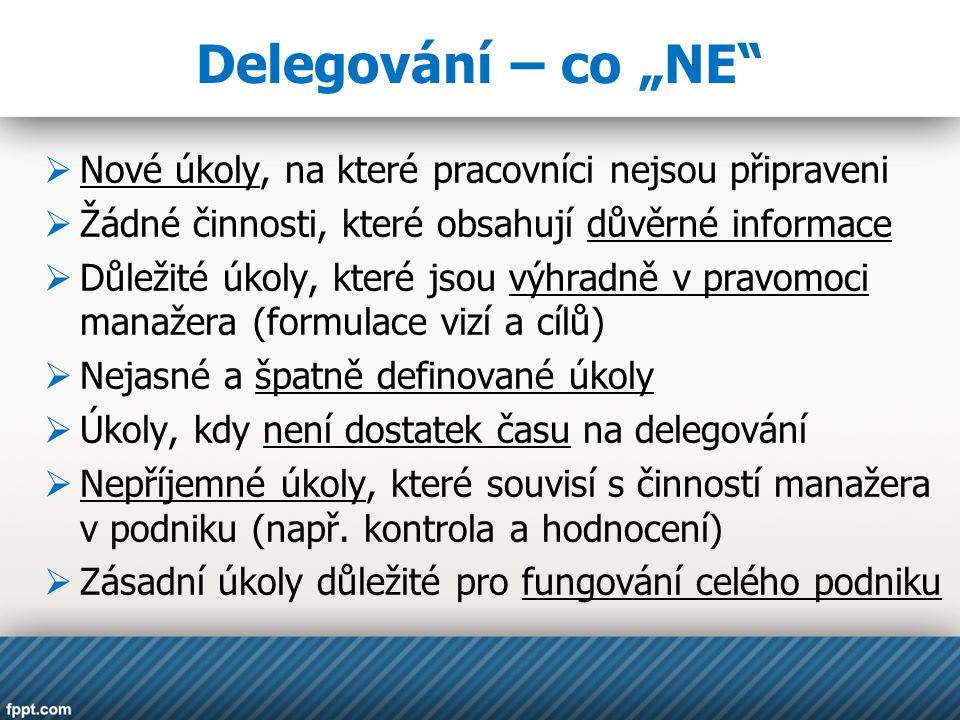 """Delegování – co """"NE Nové úkoly, na které pracovníci nejsou připraveni"""