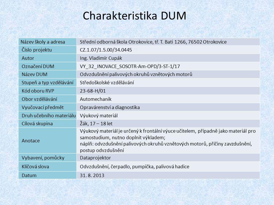 Charakteristika 1 DUM Název školy a adresa