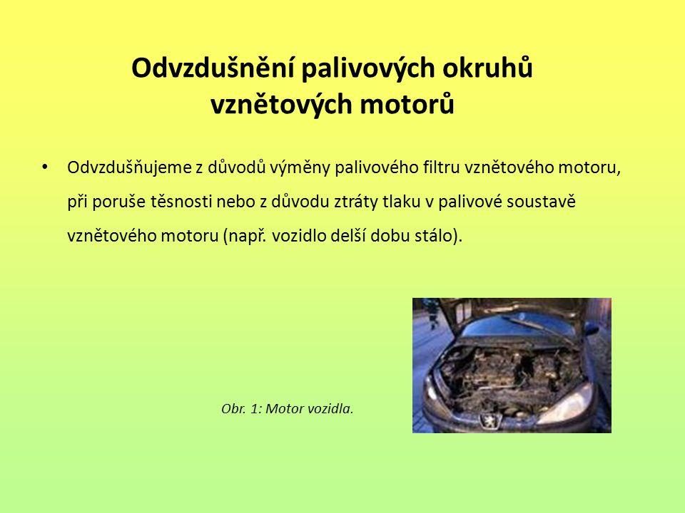 Odvzdušnění palivových okruhů vznětových motorů