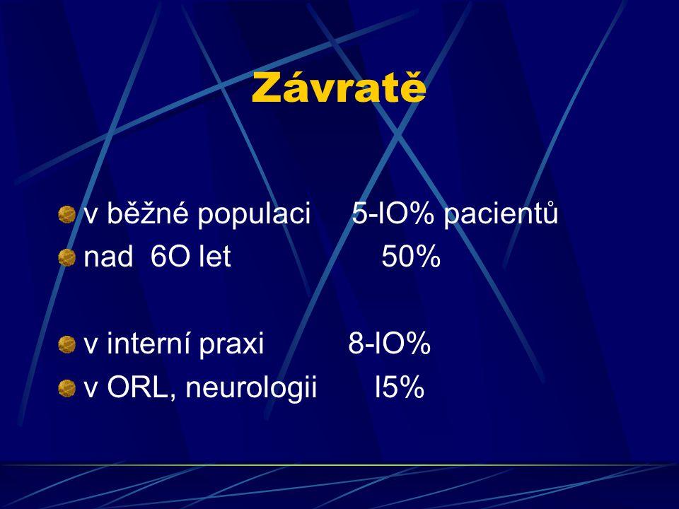 Závratě v běžné populaci 5-lO% pacientů nad 6O let 50%