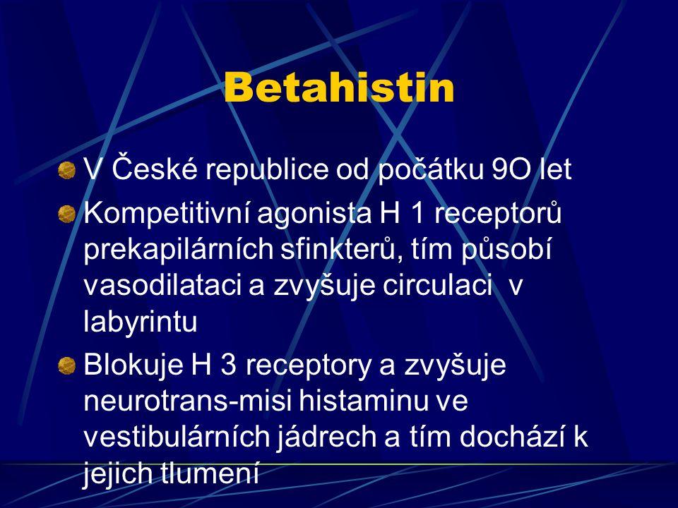 Betahistin V České republice od počátku 9O let
