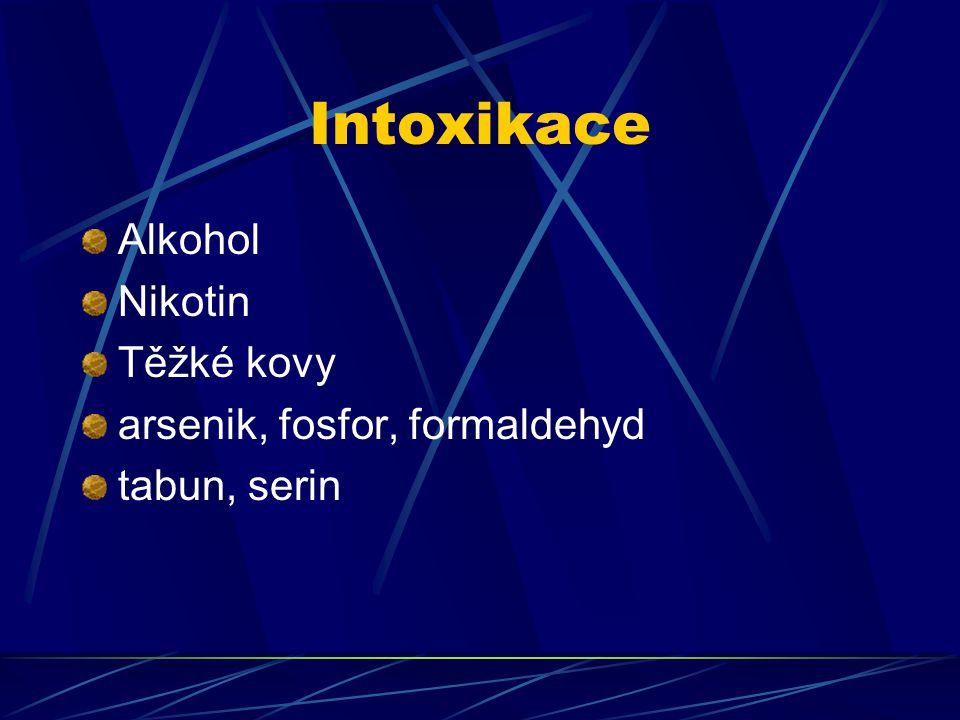 Intoxikace Alkohol Nikotin Těžké kovy arsenik, fosfor, formaldehyd