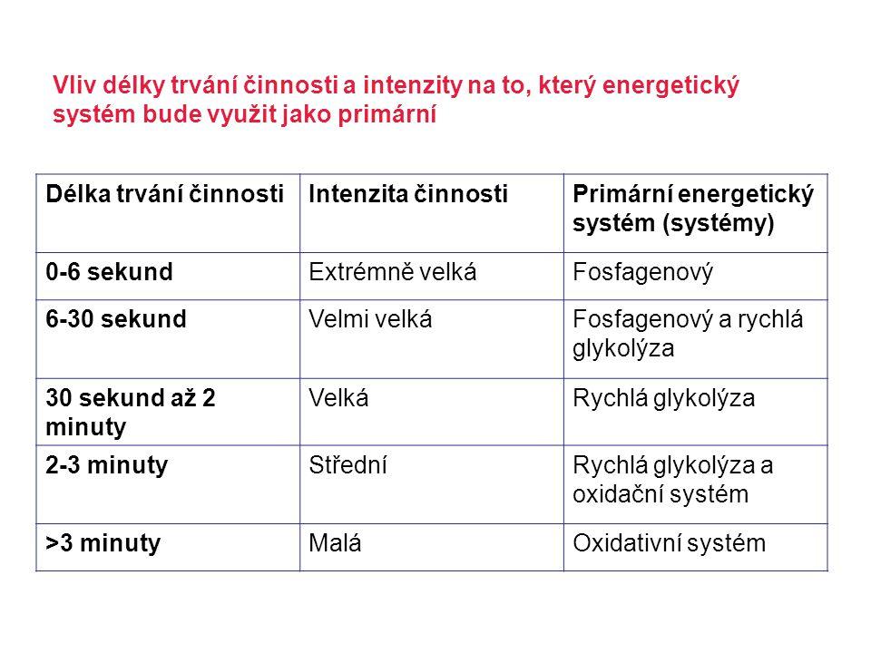 Vliv délky trvání činnosti a intenzity na to, který energetický systém bude využit jako primární