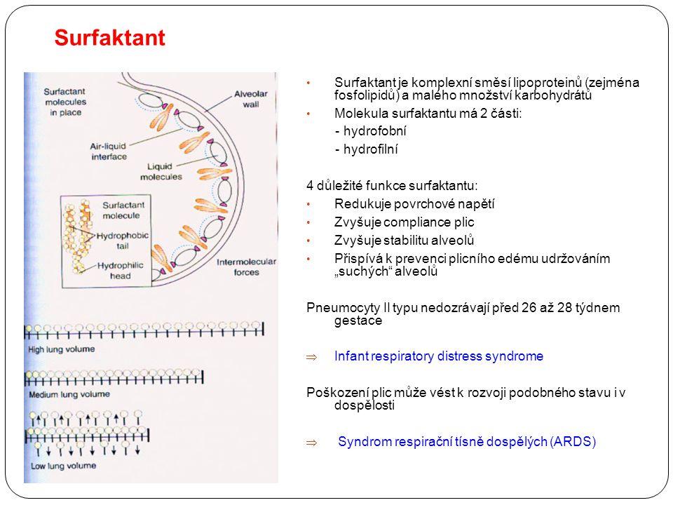 Surfaktant Surfaktant je komplexní směsí lipoproteinů (zejména fosfolipidů) a malého množství karbohydrátů.