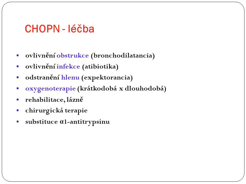 CHOPN - léčba ovlivnění obstrukce (bronchodilatancia)