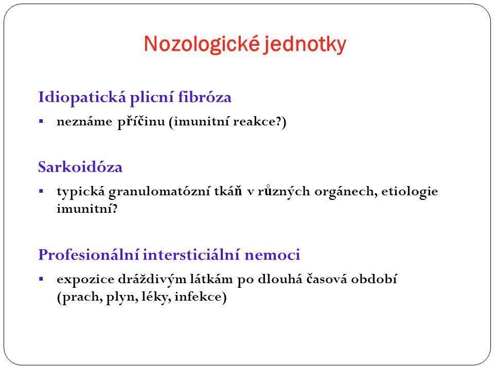 Nozologické jednotky Idiopatická plicní fibróza Sarkoidóza