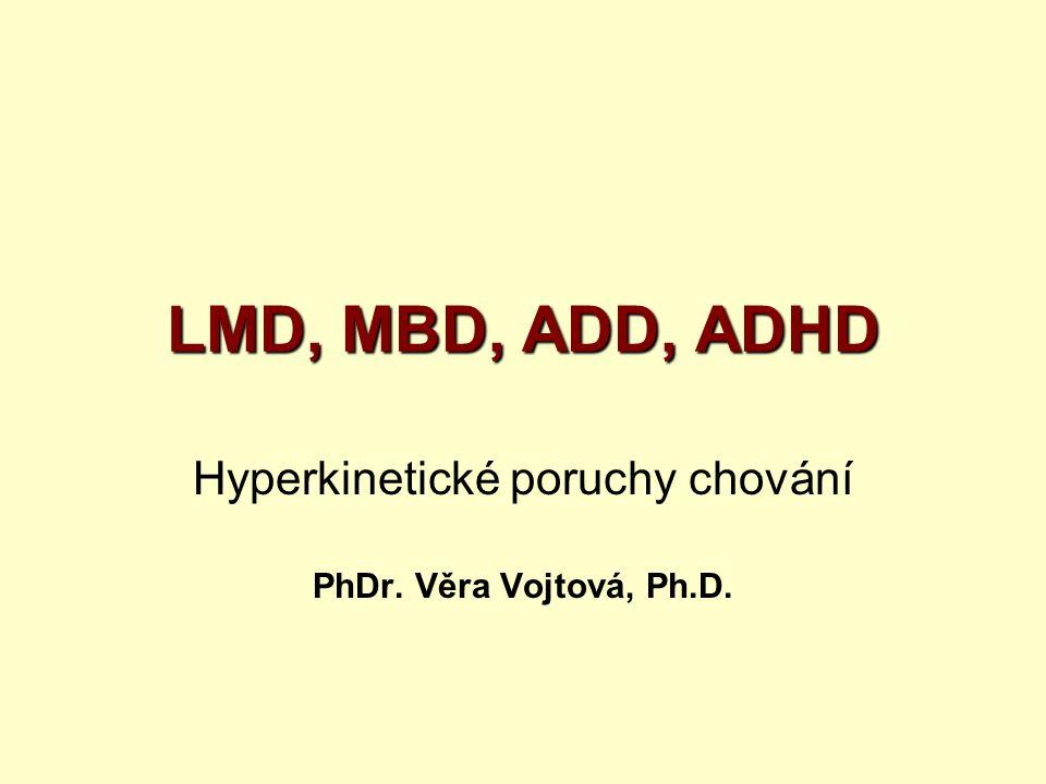 Hyperkinetické poruchy chování PhDr. Věra Vojtová, Ph.D.