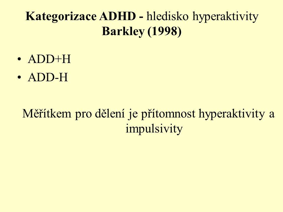 Kategorizace ADHD - hledisko hyperaktivity Barkley (1998)