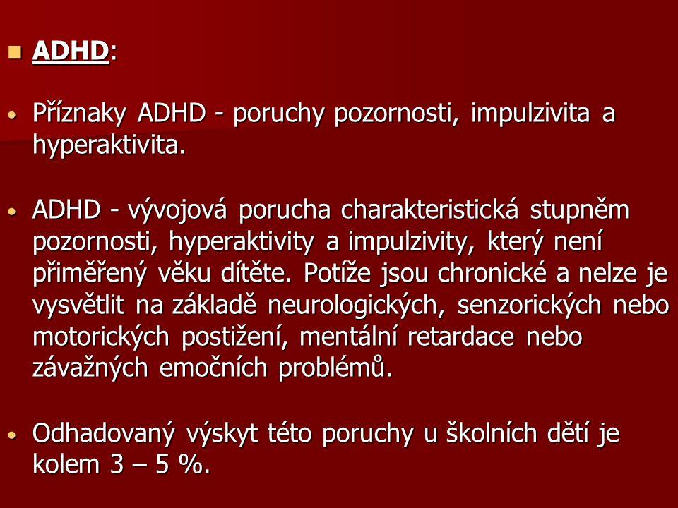 ADHD: Příznaky ADHD - poruchy pozornosti, impulzivita a hyperaktivita.