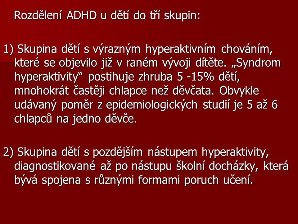 Rozdělení ADHD u dětí do tří skupin: