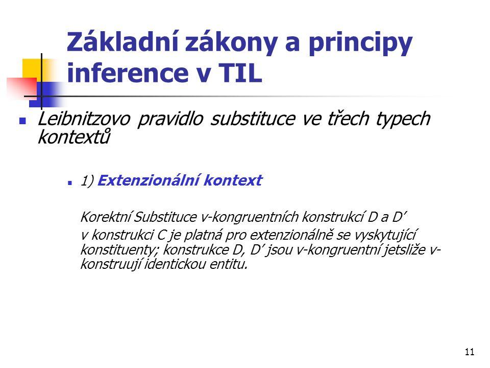 Základní zákony a principy inference v TIL
