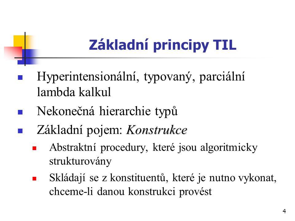 Základní principy TIL Hyperintensionální, typovaný, parciální lambda kalkul. Nekonečná hierarchie typů.