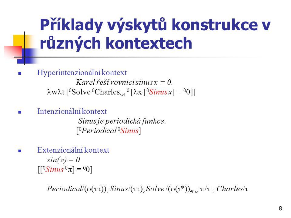 Příklady výskytů konstrukce v různých kontextech