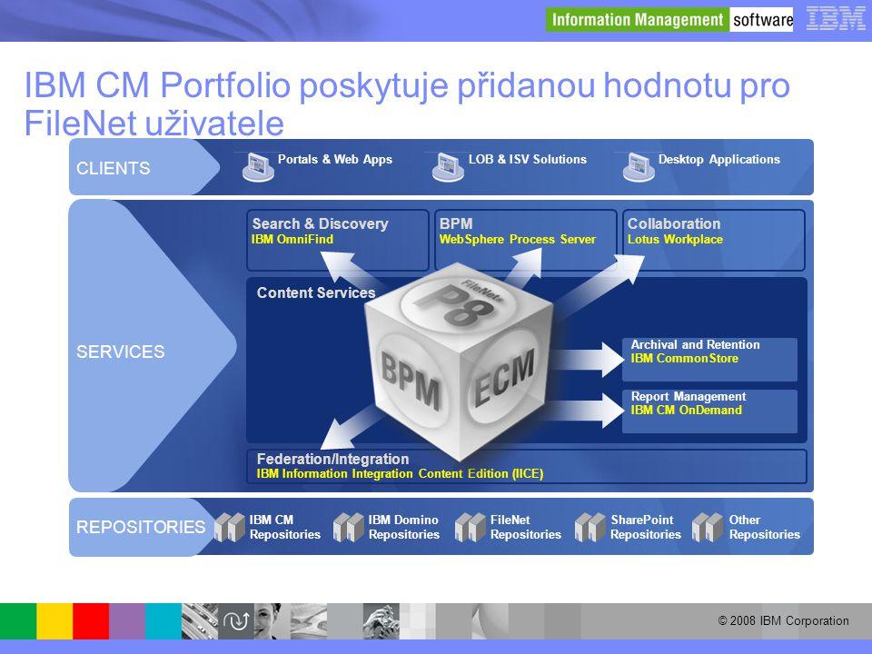 IBM CM Portfolio poskytuje přidanou hodnotu pro FileNet uživatele