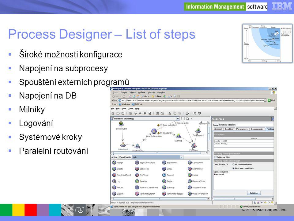 Process Designer – List of steps