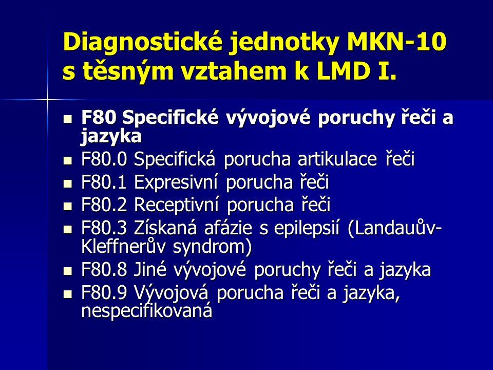 Diagnostické jednotky MKN-10 s těsným vztahem k LMD I.