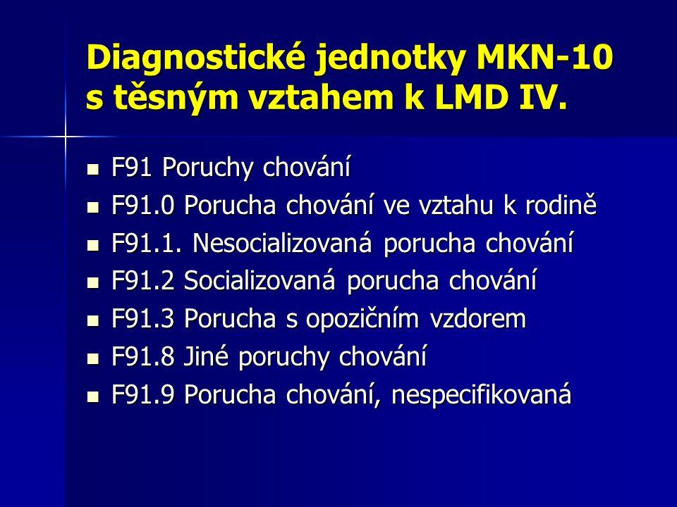 Diagnostické jednotky MKN-10 s těsným vztahem k LMD IV.
